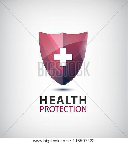 Vector medical logo, health protection shield with cross
