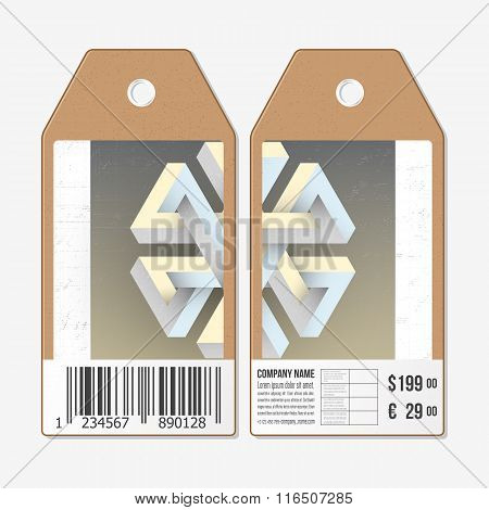 Vector tags design on both sides, cardboard sale labels with barcode. Unreal impossible geometric fi