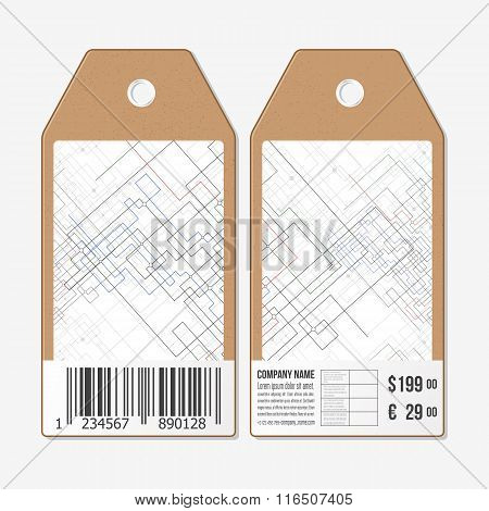 Vector tags design on both sides, cardboard sale labels with barcode. Abstract background. Technical