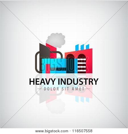 Vector heavy industry building logo, icon, illustration.
