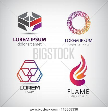 Vector set of abstract shapes, logos, icons isolated.