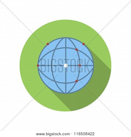 Earth in a web of satellites flat icon