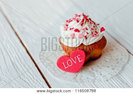 Beautiful Cakes Cupcakes On A White Wooden Table From The Heart