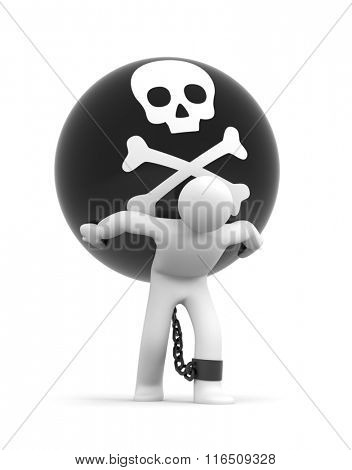 Man trapped with metal ball with skull