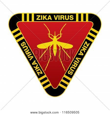 Red And Yellow Zika Virus Warning Sign
