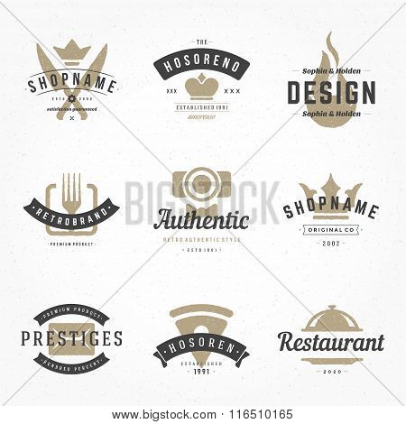 Retro Hand Drawn Logos Vector Templates Set. Hand Drawing Logos