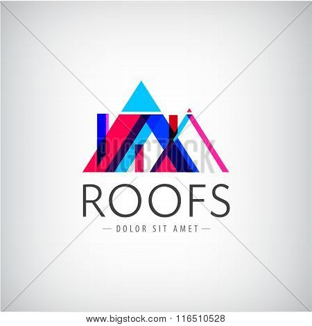 Vector modern colorful roofs logo, houses, building
