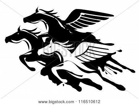 Three winged horses.