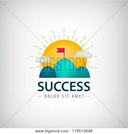 Vector success creative logo, icon, concept. 2 hills with red flag, sun rises.