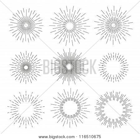 Vector set of round sun burst illustrations