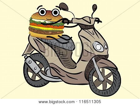 Burger on the scooter
