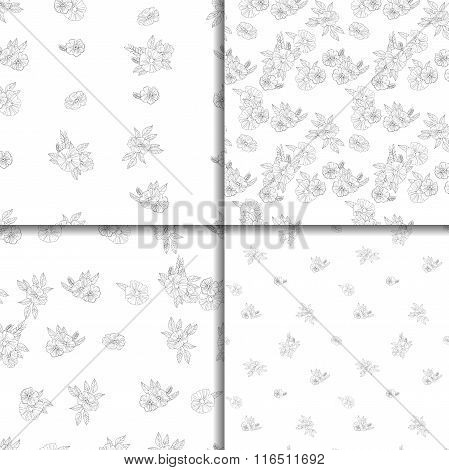 set of four black and white floral patterns