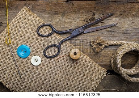Old Scissors On Wood