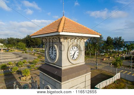 Aerial view on Labuan Clock Tower located at Sea Sport Complex, Labuan FT