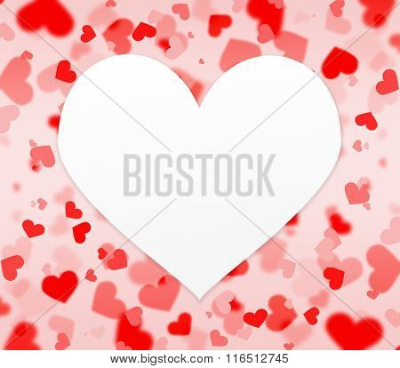 red and pink hearts background with blank heart shaped paper