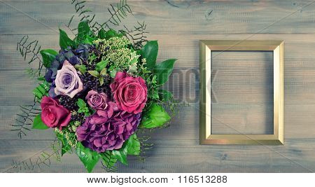 Golden Picture Frame And Rose Flowers. Vintage Style Retro Toned