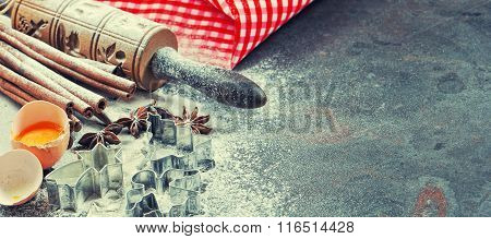 Christmas Food. Baking Ingredients And Tolls. Vintage Style Toned