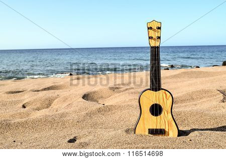 Guitar on the Sand Beach
