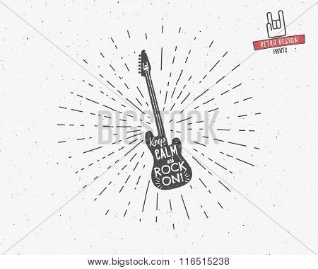 Vector vintage guitar label with sunburst, typography elements, text. Grunge rock and roll style. Gu