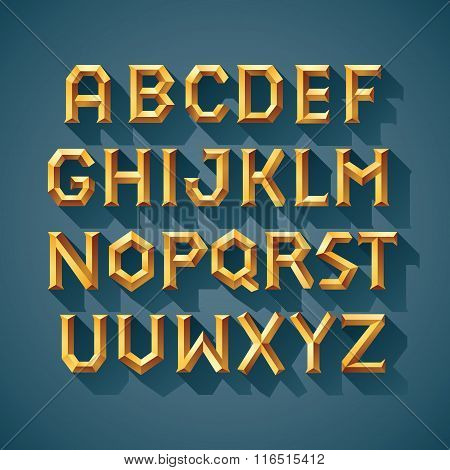 Alphabet font Gold Stone Block of Ancient Greece Letters