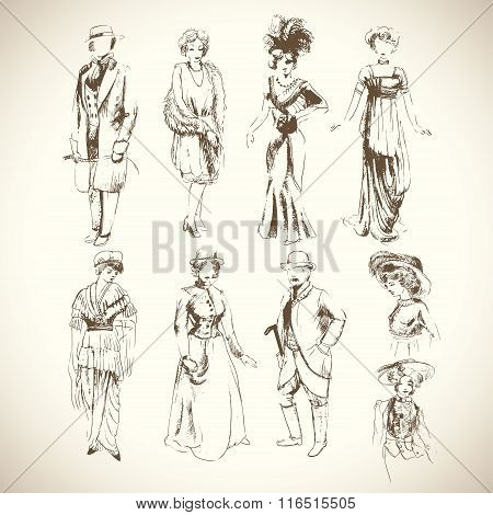 Pencil sketch set of vintage fashion clothes of 1920-1930 years