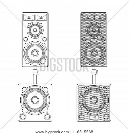 Outline Loudspeakers Stand Subwoofer Pair Illustration.
