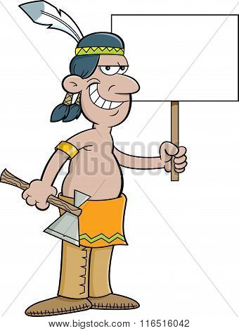 Cartoon American Indian holding a sign.
