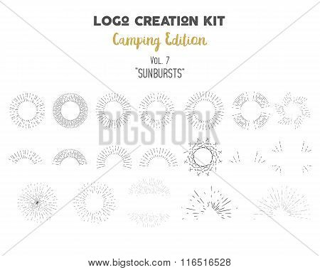 Logo creation kit bundle. Camping Edition set. Vector sunbursts shapes and elements. Create your own