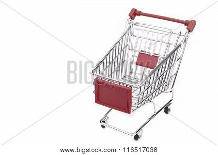 New Empty Red Shopping Cart Isolated On White Background