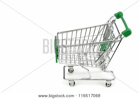 New Empty Green Shopping Cart Isolated On White, Side View