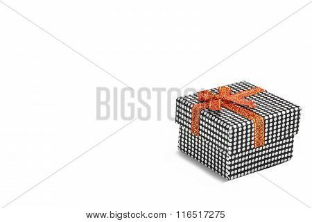 Single Gift Box With Dotted Pattern Isolated On White Background