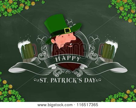 Elegant greeting card design with illustration of Leprechaun on shamrock leaves decorated background for Happy St. Patrick's Day celebration.