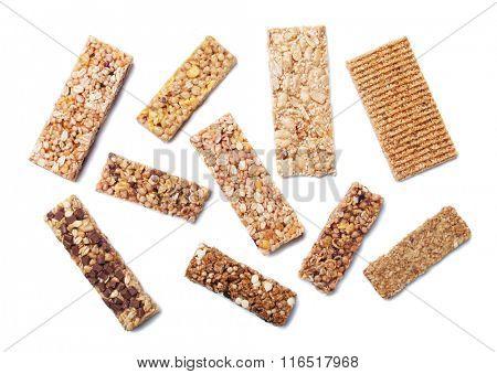 Granola bars, cereal snack isolated on white background