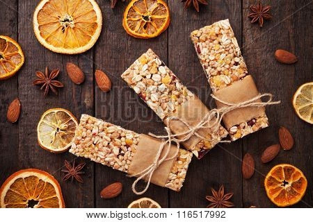 Cereal granola bars with dried fruit and nuts