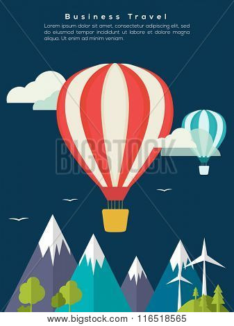 Creative Flyer, Banner or Template with flying hot air balloons for Business Tour and Traveling concept.