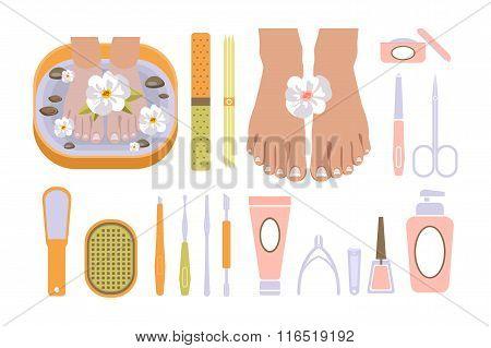 Spa Pedicure Set. Vector Illustration
