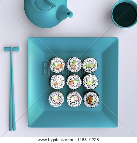 Plate With Sushi, Chopsticks And Tea Cup. View From Above.