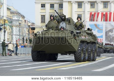 BTR-82A at the rehearsal of the parade in honor of Victory Day on Palace Square. St. Petersburg