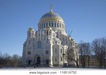 View of the Naval Cathedral of St. Nicholas february afternoon. Kronstadt