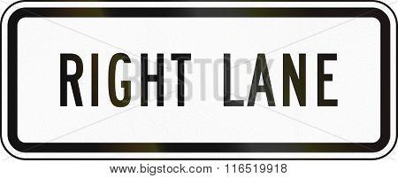 United States Mutcd Regulatory Road Sign - Right Lane