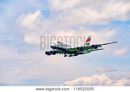 HONG KONG - JUNE 04, 2015: British Airways A380 landing . British Airways is the flag carrier airline of the United Kingdom and the largest airline in the United Kingdom based on fleet size