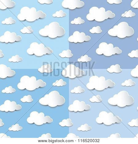 Set of four seamless backgrounds of fluffy clouds, paper cutout with shadow effect.
