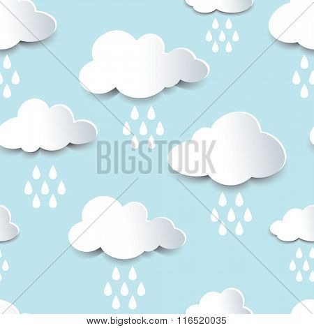 Seamless background of fluffy rain clouds, paper cutout with shadow effect.
