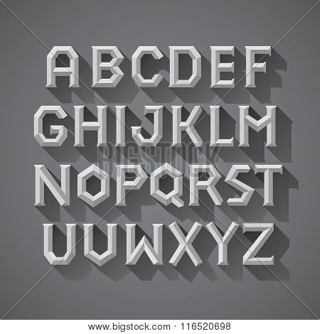 Alphabet font Chiseled Stone Block of Ancient Greece Letters