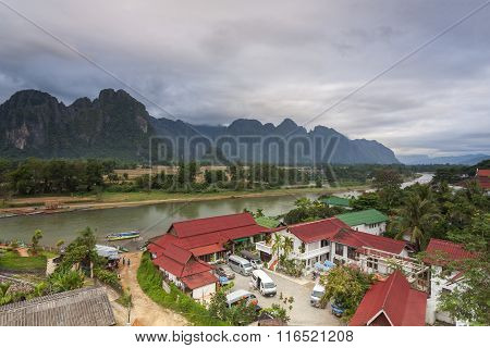 Vang Vieng Is A Tourism-oriented Town In Laos, Located In Vientiane Province About Four Hours Bus Ri