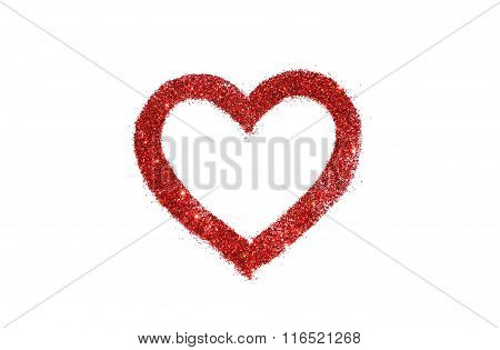 Abstract heart of red glitter sparkle on white background