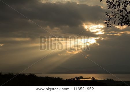 Sun Rays During Sunrise Over The Moutain