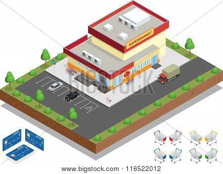 Supermarket exterior. The supermarket with parking and shopping carts. Retail trade. Vector isometri