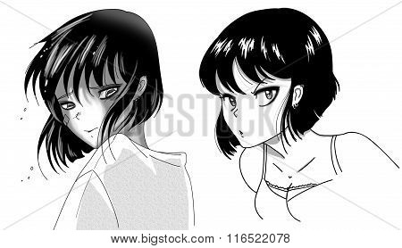 Young woman manga style