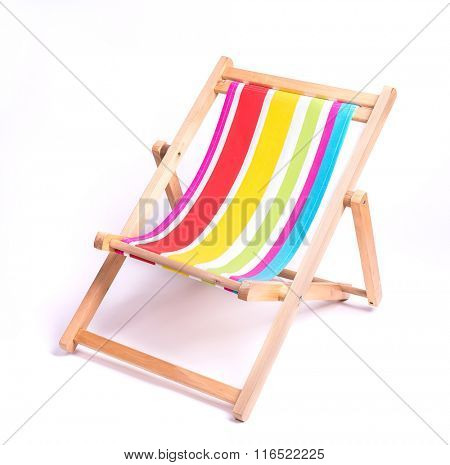 wooden striped deck chair isolated on white background